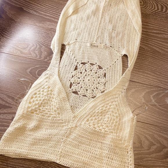 BOHO Cream crochet top with large hood size L